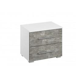 Chevet moderne blanc/gris béton Carolina
