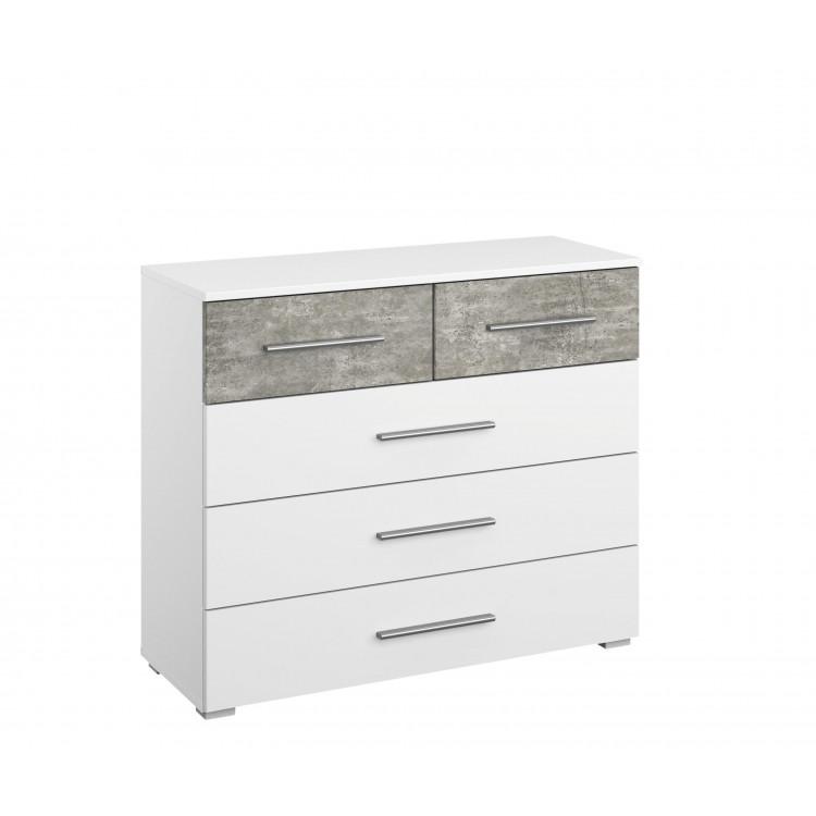 Commode moderne 5 tiroirs blanc/béton Carolina