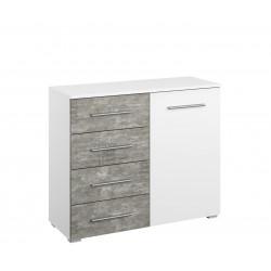 Commode moderne 1 porte/4 tiroirs blanc/béton Carolina