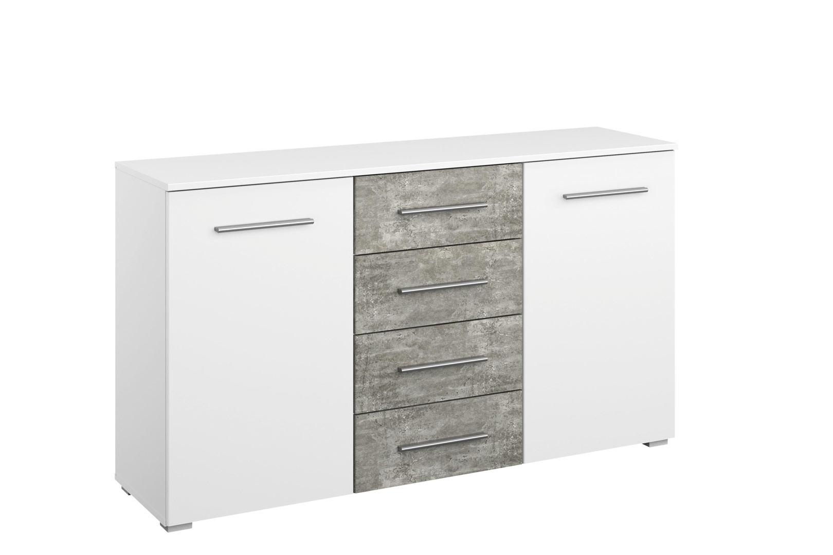 Commode moderne 2 portes/4 tiroirs blanc/béton Carolina