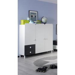 Armoire enfant contemporaine 140 cm gris/blanc Flipper