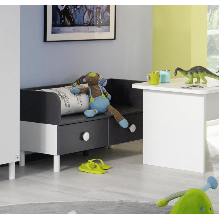 Banc d'assise enfant contemporain gris/blanc Flipper