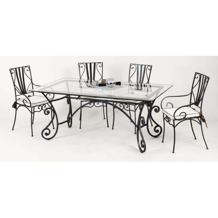 Table et chaises fer forgé MARYLENE-Blanc or-90 x 190 cm