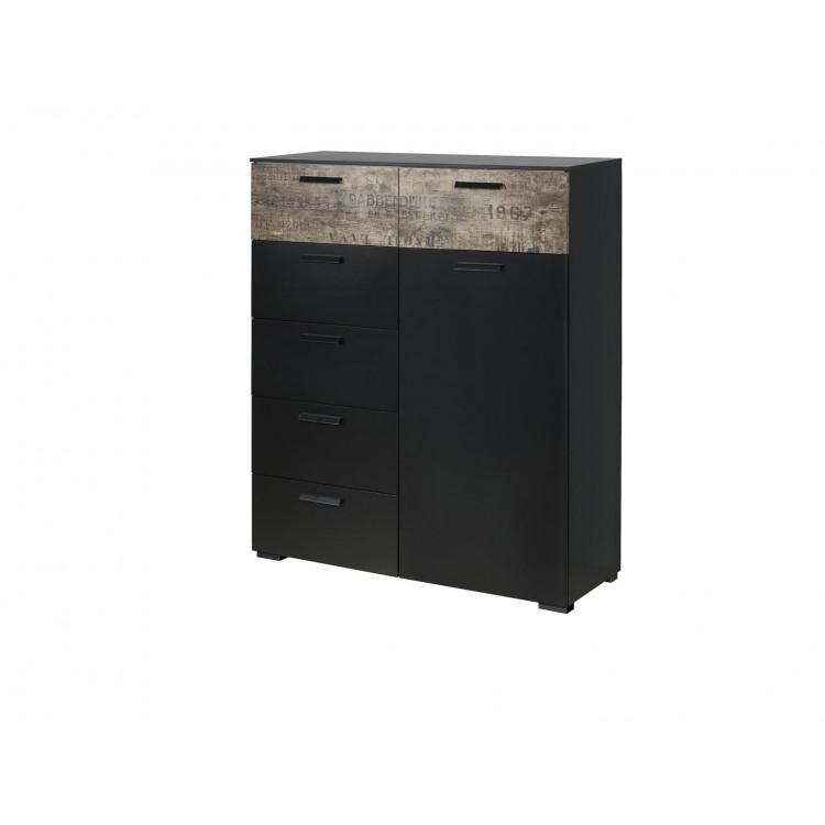 Commode contemporaine 80 cm noir/marron Matra I