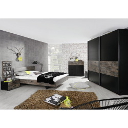 Chambre adulte contemporaine noir/marron Matra