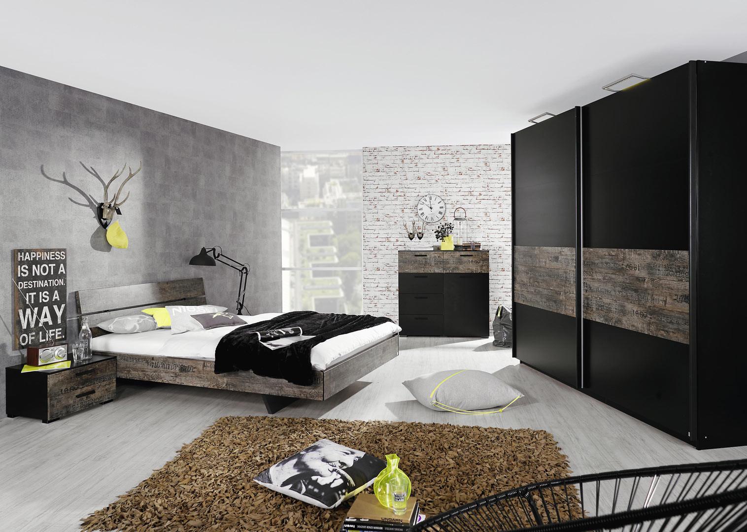 Chambre adulte contemporaine noir/marron Matra