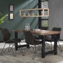 Table de salle à manger industrielle en bois massif Oliver
