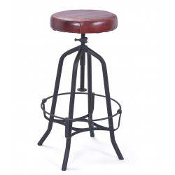 Tabouret de bar ajustable industriel noir/marron Carla