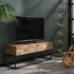 Meuble TV en acacia massif à 2 tiroirs Justine