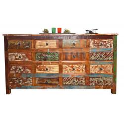 Buffet/bahut vintage 160 cm en bois massif multicolore Rosana