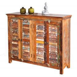 Buffet/bahut vintage 125 cm en bois massif multicolore Rosana