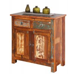 Meuble de rangement vintage en bois massif multicolore Rosana