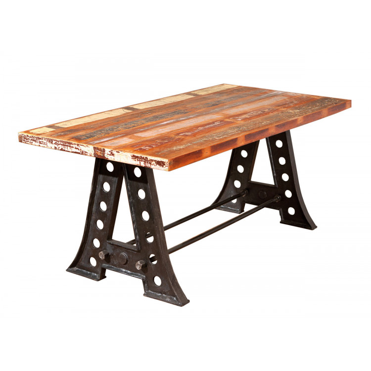 Table vintage en bois massif multicolore Rosana