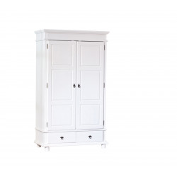 Armoire style campagne 116 cm en pin massif blanc Zana