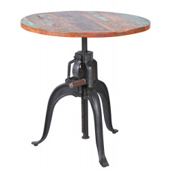 Table ajustable industrielle en bois massif multicolore Rosana