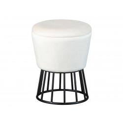 Pouf coffre moderne en velours blanc Irène