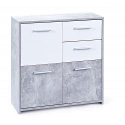 Meuble de rangement contemporain 77 cm blanc/béton Colibri