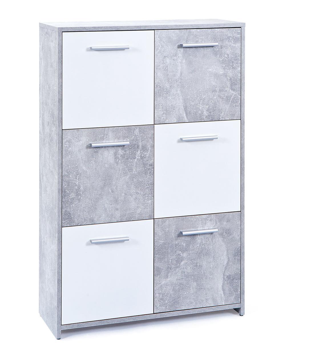 Meuble de rangement contemporain 77 cm blanc/beton Colibri I