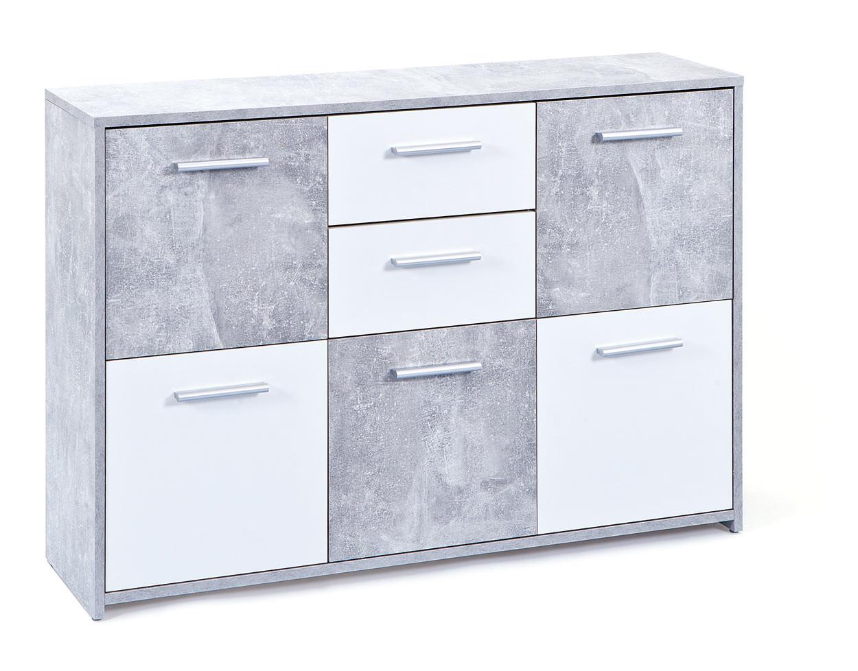 Meuble de rangement contemporain 115 cm blanc/beton Colibri