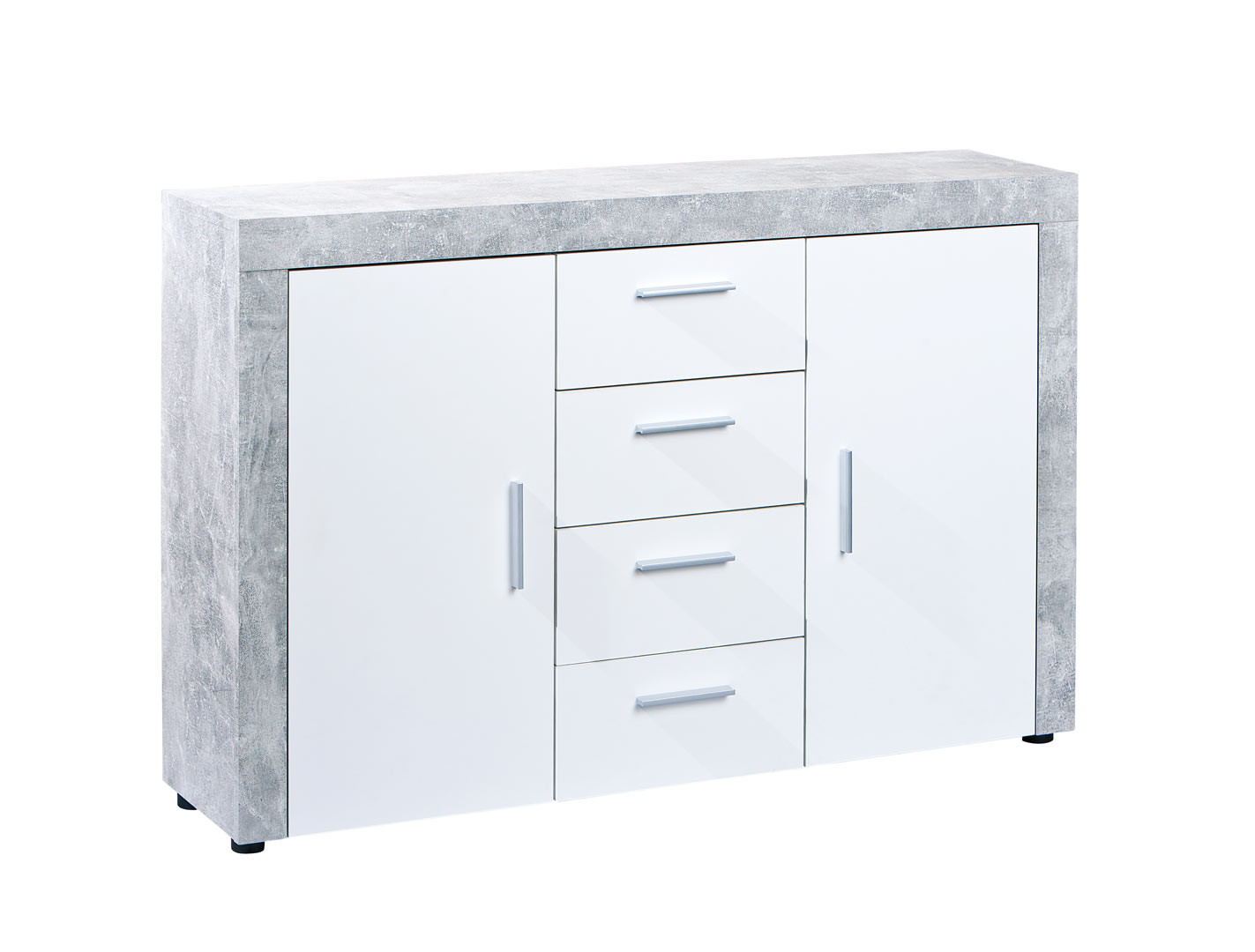 Meuble de rangement contemporain 134 cm blanc/béton Colibri