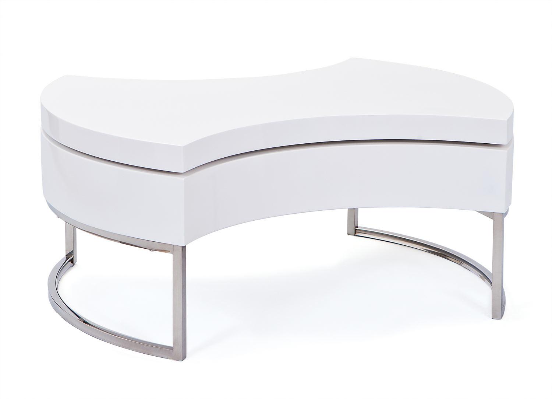 Table basse moderne pivotante blanc laqué Vancouver