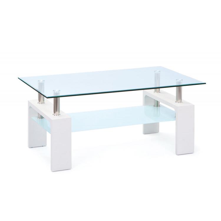 Table basse moderne bois & verre chêne sonoma Alona