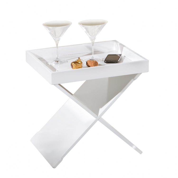 Table d'appoint moderne blanche Ekone