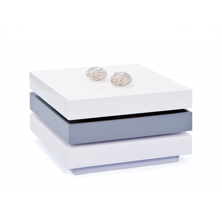 Table basse pivotante moderne blanc/gris Star