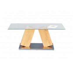 Table basse design verre et bois chêne sauvage Morelia