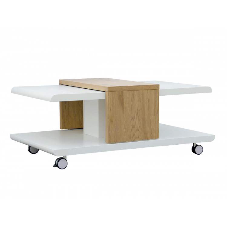 Table Basse Moderne Blanc Chene Olivette Matelpro
