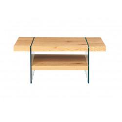 Table basse contemporaine bois et verre chêne sauvage Windsor