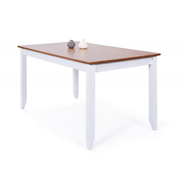 Table de salle à manger style campagne en pin massif blanc Radja