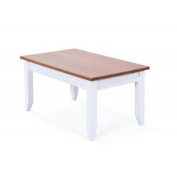 Table basse style campagne en pin massif blanc Radja