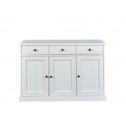 Buffet/bahut style campagne en pin massif blanc Minerva