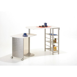 Table de cuisine contemporaine modulable blanche Sacha