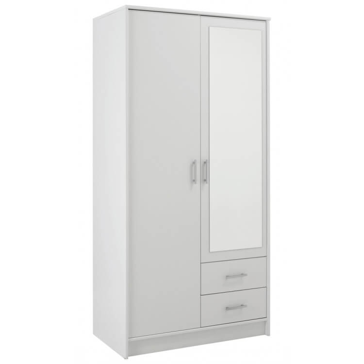 Armoire contemporaine 2 portes/2 tiroirs banche Vital