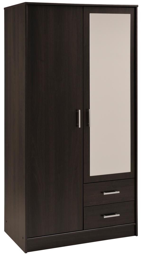 Armoire contemporaine 2 portes/2 tiroirs coloris café Vital