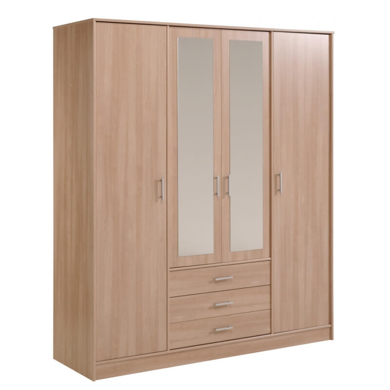 armoire 4 portes 3 tiroirs vital matelpro. Black Bedroom Furniture Sets. Home Design Ideas