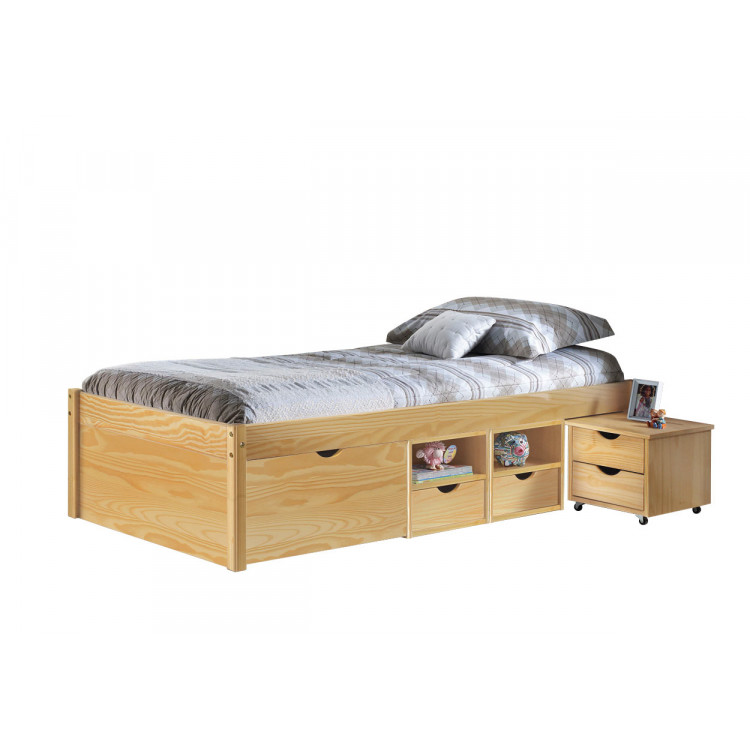 Lit enfant contemporain en pin massif naturel Star