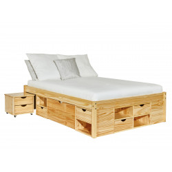 Lit adulte contemporain en pin massif naturel Star