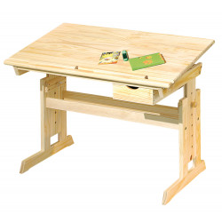 Bureau enfant inclinable style nature en pin massif naturel Juliane