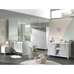 Chambre bébé contemporain blanc/chêne Sonia