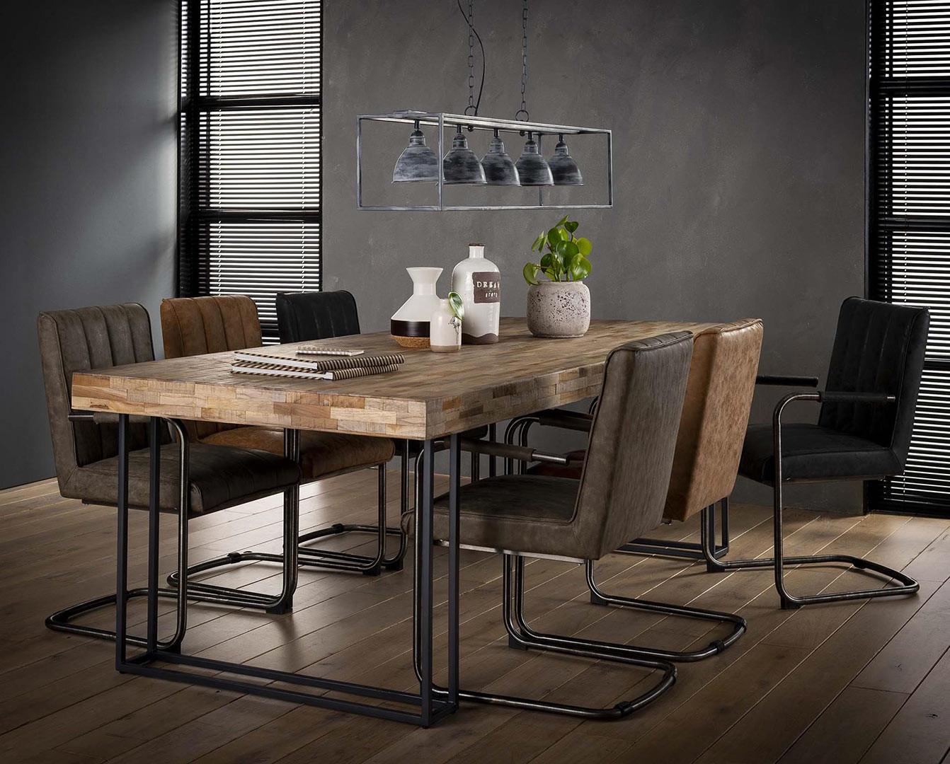 Table À Manger Industrielle table à manger industrielle en bois recyclé 240 cm daria
