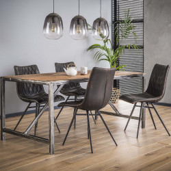 Table à manger industrielle en bois 150 cm Selenia