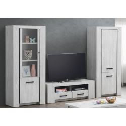 Ensemble TV contemporain chêne blanc Curtis