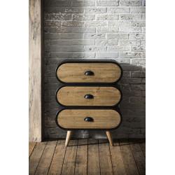 Commode industrielle en bois massif et métal 3 tiroirs Yago