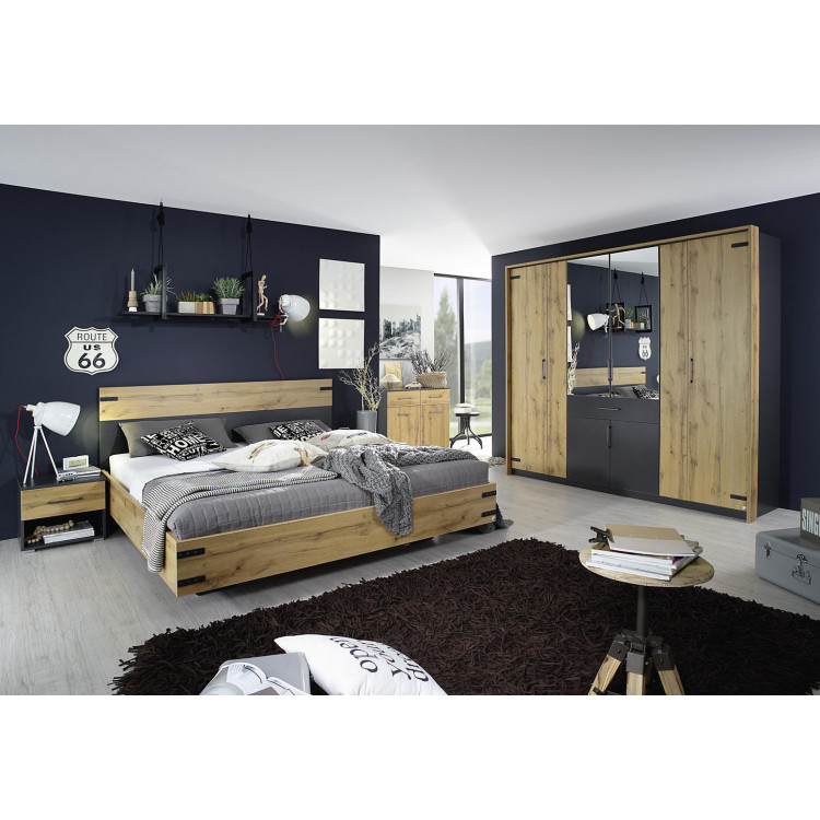 Chambre adulte moderne chêne/anthracite Sierra