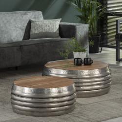 Tables basses industrielles en bois et acier Estelle