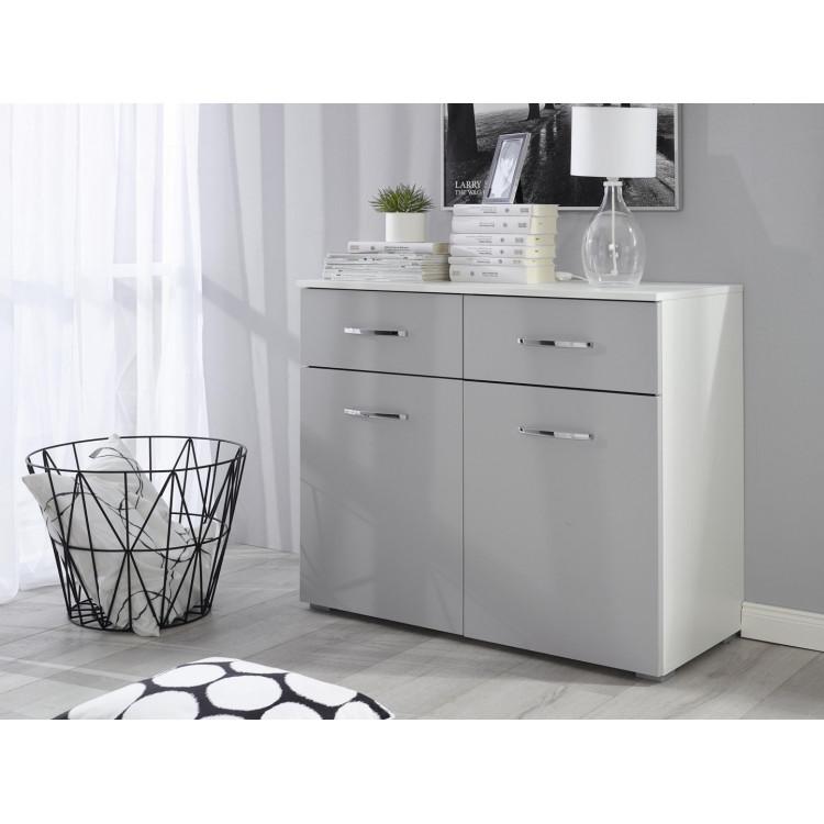 Commode moderne 93 cm blanc/gris Oklaoma