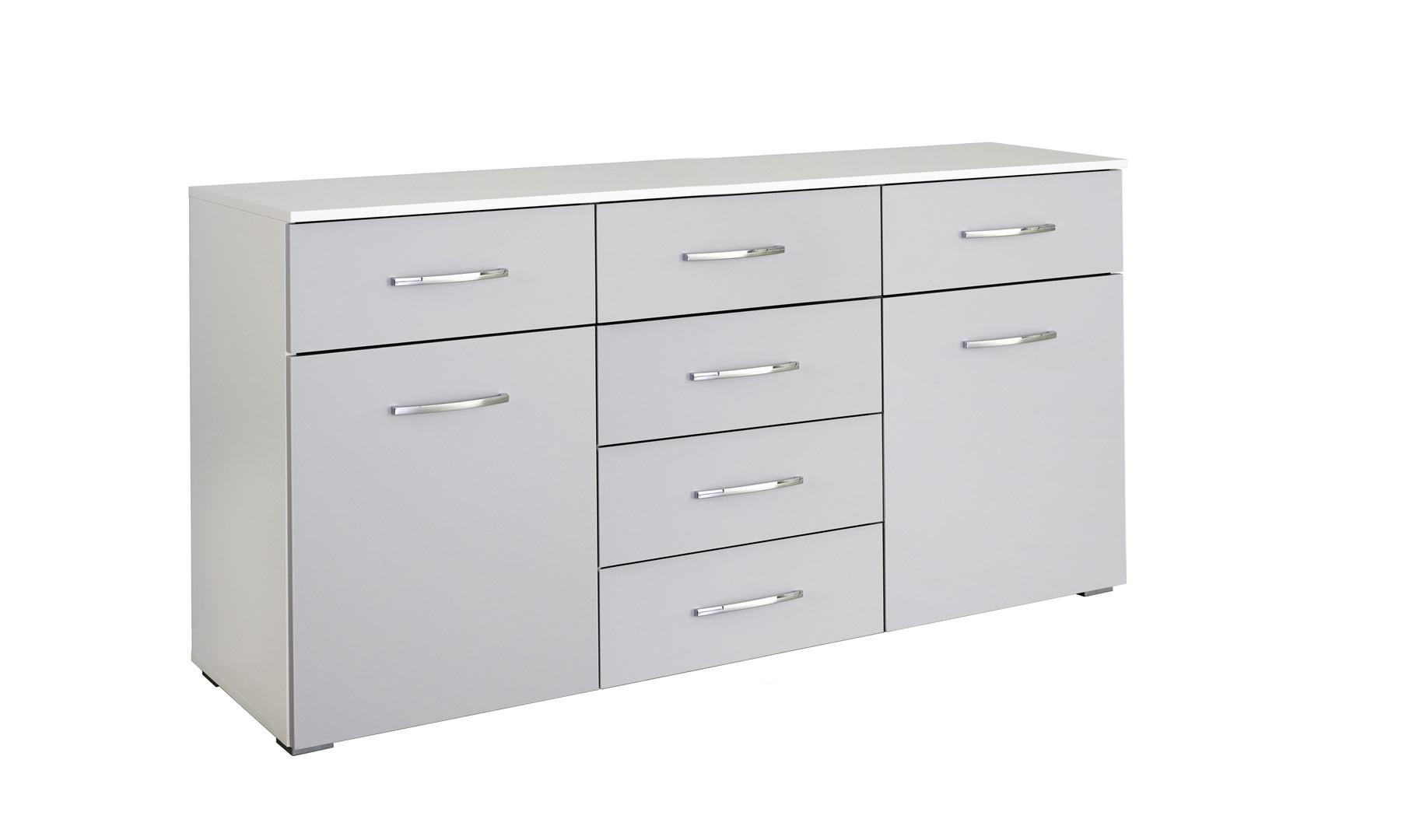 Commode moderne 140 cm blanc/gris Oklaoma